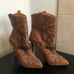 Buffalo London Shoes - Leather Embroidered Tan Boots with Metal Accents